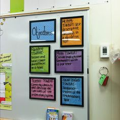 "I like the look of the framed objectives. Picture frames are great as dry erase surfaces. You just want to be careful about glass in the classroom. Also, if you are using patterned paper, be sure it isn't too ""busy"" :) Jodi from The Clutter-Free Classroom www.CFClassroom.com"