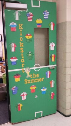 Kickstart the summer:  This is classroom door I created for the end of the school year. I did a soccer theme because it's the world cup this summer. I traced a soccer jersey, made copies, and  drew out the flags on the jersey. Then I had the children pick one and color the flag and I wrote their last name on the jersey.