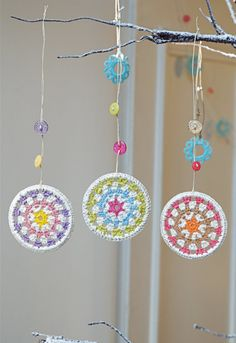 Three Crocheted Granny Circle Sparkle Christmas Decorations - Crocheted Decorations. $24,00, via Etsy.
