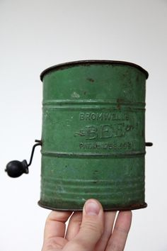 Green Bromwell's Bee Tin Flour Sifter by 8FOOTSIX on Etsy, $8.50