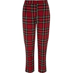 Red plaid pants (71 PLN) ❤ liked on Polyvore featuring pants, red plaid pants, plaid trousers, tartan trousers, tartan pants and plaid pants