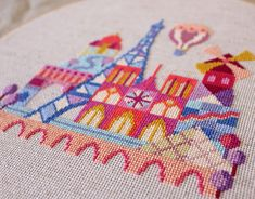 Pretty Little Paris - printed version - Satsuma Street Modern Cross stitch pattern Modern Cross Stitch Patterns, Counted Cross Stitch Patterns, Cross Stitch Embroidery, Modern Embroidery, Embroidery Patterns, Cross Stitch House, Little Paris, Needlework Shops, Needlepoint Patterns