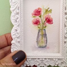 Little love, miniature watercolor painting, flower / Amor em miniatura, aquarela miniatura, flores / Adriana Galindo drigalindo1@gmail.com