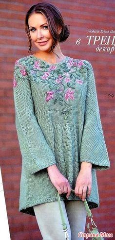 В тренде декор. Расклешенный джемпер с цветочной аппликацией. Спицы. - ВЯЗАНАЯ МОДА+ ДЛЯ НЕМОДЕЛЬНЫХ ДАМ - Страна Мам Crochet Clothes, Diy Clothes, Clothes For Women, Jumper Patterns, Knitting Patterns, Vintage Crochet Dresses, Knitting Designs, Knit Dress, Knit Crochet