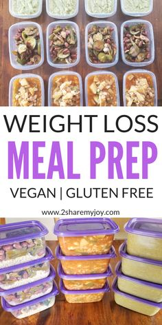 Super easy vegan meal prep for weight loss on a budget. 3 plant based recipes that make 12 healthy meals done in one hour. Perfect meal prep for a vegan eating plan. #vegan #mealprep #weightloss #fatloss #glutenfree #oilfree