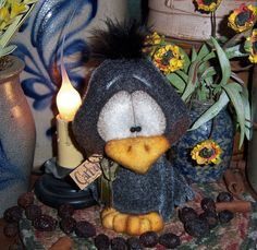 "Primitive Black Chicken Bird Fuzzy Crow 5"" Bear Doll ★ Vtg Patti's Ratties Ornie"