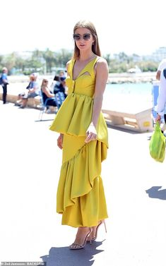 Sandra Mansour 'Rayons de Soleil' dress, and Sophie Lis Fallen Star earrings. Millie Mackintosh, Yellow Gown, Made In Chelsea, Stand Tall, Cannes Film Festival, Star Earrings, Mail Online, Daily Mail, Gowns
