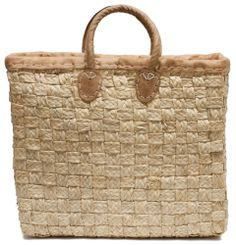 "Moroccan Straw Tote Bag w/ Leather Handles & Trim, 16""Lx5""Wx14""H - Porto Lg"