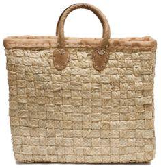 "Moroccan Straw Tote Bag w/ Leather Handles & Trim, 16""Lx5""Wx14""H - Porto Lg"