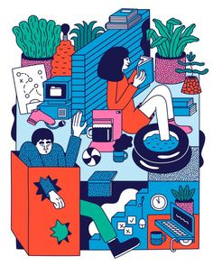 Paukova's illustrations are vibrant pen drawings of jubilant characters and risqué scenes that explore the body in the everyday. Love Illustration, Character Illustration, Graphic Design Illustration, Amazing Drawings, Cute Drawings, Pen Drawings, Gravure, Pictures To Draw, Illustrations Posters
