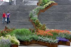 stairs with flower bin