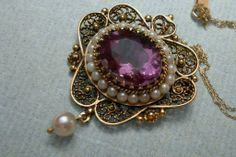 14K gold  Amethyst and Seed Pearl Brooch Pendant hallmarked