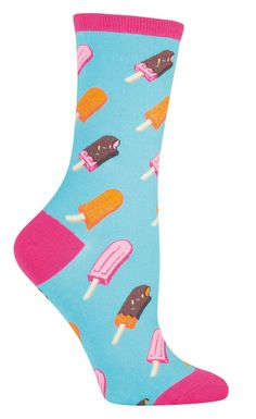 Oh my gosh! Which one do you choose? The line at the ice cream truck is growing behind you! Hurry Hurry! You won't have to choose just one type of ice cream pop, since there are many kinds on a pink or bright blue crew sock. Fits shoes size 5-10.