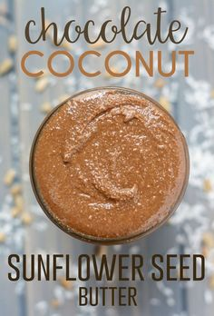 This homemade, creamy Chocolate Coconut Sunflower Seed Butter is great on toast, in smoothies, on top of yogurt, or just straight from the jar. Sunflower Seed Butter Recipes, Sunflower Butter, Pumpkin Seed Butter, Sunflower Seeds, Sunflower Seed Cheese, Fit Mitten Kitchen, Fromage Vegan, Lactose Free Diet, Vegan Dessert Recipes
