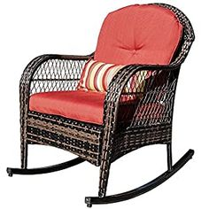 Wicker Patio Chairs Archives - Page 2 of 3 - patiofurnishing.com Outdoor Rocking Chairs, Outdoor Living Furniture, Porch Furniture, Backyard Furniture, Wicker Patio Chairs, Chair Cushions, Wicker Rocker, Modern, Shopping
