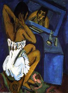 Toilette, Frau vor Spiegel - (Ernst Ludwig Kirchner)