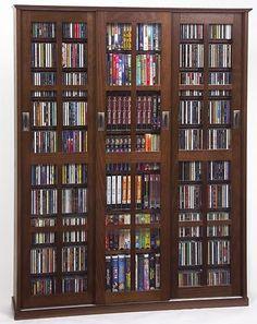 Leslie Dame MS-1050W Glass Sliding 3 Door Media Storage Cabinet - Walnut