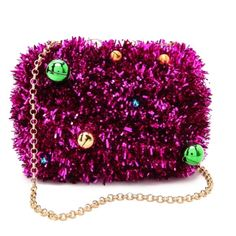 Kotur || Fuchsia Tinsel Bell Box Clutch Hand-finished. Fuschia tinsel. Concealable chain shoulder strap. Red and gold bells. Fully lined in brocade. Designer-stamped clasp at magnetic top. Comes with matchbook notepad. Comes with dust bag. NWT. Kotur Bags Clutches & Wristlets
