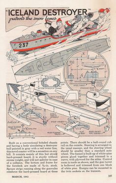 Icelandic Destroyer plan, Popular Mechanics March 1942, from my collection. www.playfulplans.com Wood Projects, Woodworking Projects, Woodworking Plans, Free Boat Plans, Wood Boat Plans, Boat Dock, Pontoon Boat, Boat House, Sailing Boat
