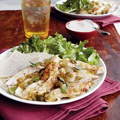 "Chicken Verde | MyRecipes.com ~ Make your friends ""green"" with envy at your slow cooker savvy by serving up this savory Southwestern-style entrée, loaded with tomatillos, onion, and roasted poblano and jalapeño peppers. Corn tortillas and a simple green salad round out the menu."