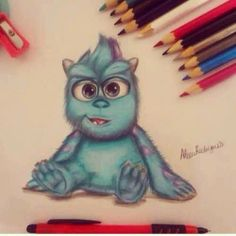 draw cute blue Sulley Monstros S.A