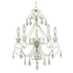 Bring chic style to your living room, dining room, or foyer with this elegant chandelier, showcasing a weathered white finish and scrolling frame.