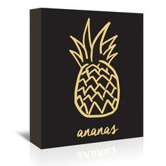 East Urban Home Ananas Framed Graphic Art on Wrapped Canvas in Black and Gold Size: