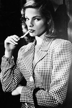 """Lauren Bacall in 1944 in her first film, To Have and Have Not.  Contains the famous line, """"You know how to whistle, don't you Steve, you just put your lips together and blow."""""""