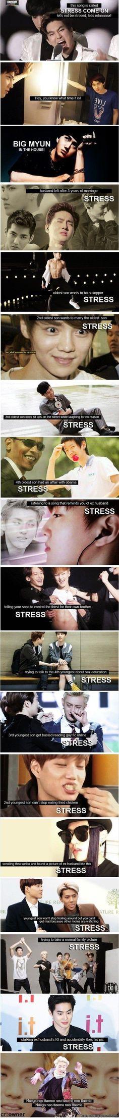 Big Byung - Stress Come On (Suho Remix). The stresses of being the mother of EXO. Exo Ot12, Kaisoo, Chanbaek, K Pop, Exo Memes, Kpop Exo, Exo K, 2ne1, Btob