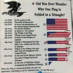 Meanings of each individual flag fold. Good to know. Us History, History Facts, American History, American Pride, American Flag Facts, American Flag Meaning, Texas History, History Class, Teaching History