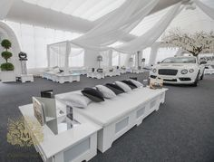 Furniture islands for Bentley/Lamborghini launch Event Styling, Corporate Events, Event Decor, Luxury Wedding, Event Design, Wedding Designs, Lamborghini, Islands, Chill