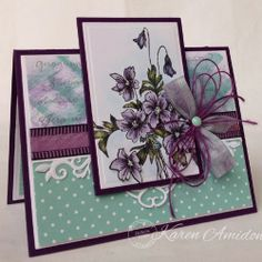 Serendipity Stamps Large Violets and Summer Flower Background rubber stamps were used on this card.