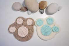 Hand Crochet Cat Paw Cup Coaster in white or tan by JieKnitting, $6.00