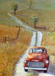 Road to Happiness by Wendy Marquis Road to Happiness by Wendy Marquis Vintage Trucks, Old Trucks, Car Painting, Painting & Drawing, 2 Clipart, Farm Art, Truck Art, Old Barns, Pictures To Paint