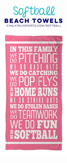 Check out more of our Softball Beach Towels! Your Softball Mom will love this adorable Softball Beach Towel.