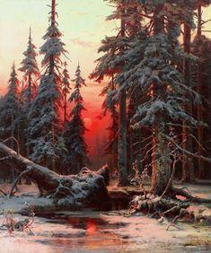 "Юлий Клевер  ""Зимний лес на закате"""