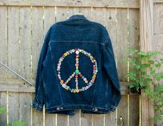Upcycled Denim Jacket - Button Art - Peace Sign Fashion - Large - Hippie Clothing