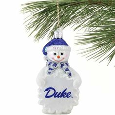 Looking to decorate your tree? Check out this Duke Blue Devils glass snowman ornament!