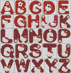 alphabet - hello kitty - point de croix - cross stitch - Blog : http://broderiemimie44.canalblog.com/