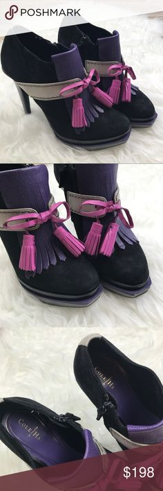 """Cole Haan Kiltie Booties New without box Cole Haan Kiltie Booties. Size 7  with Nike Air technology. Black suede with purple and pink leather accents and tassels. Inner side zipper. Gray Patent heels and trims. 5"""" heel. No trades, offers welcome. Cole Haan Shoes Ankle Boots & Booties"""