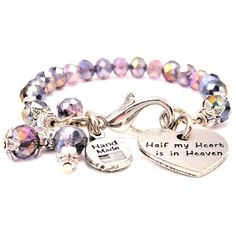 SPLASH OF COLOR HALF MY HEART IS IN HEAVEN CRYSTAL BRACELET by ChubbyChicoCharms! Many styles!  Love this!