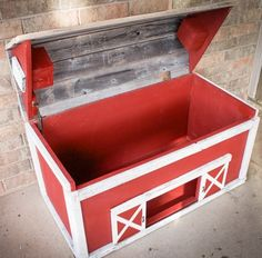 Barn Toy Box, made out of reclaimed wood #LiquidGoldSalvagedWood