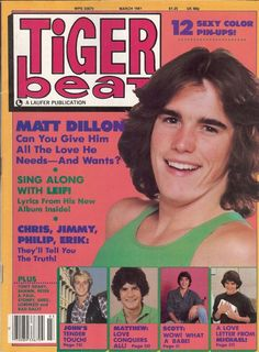 Tiger Beat magazine, complete with Matt Dillon on the cover! Don't forget Scott Baio, Philip McKeon, Leif Garrett, Shaun Cassidy and Ralph Macchio.