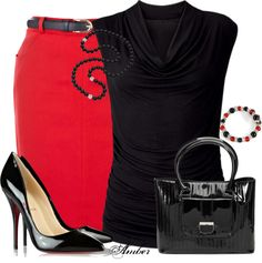 """""""OASIS Belted Pencil Skirt"""" by stay-at-home-mom on Polyvore"""
