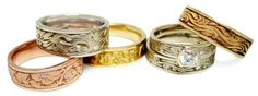 A collection of Studio 311 rings available at Studio Jewelers, showing the variety of gold and patterning choices. Unique Rings, Bridal Jewelry, Blush Pink, Jewelry Design, Fashion Jewelry, Wedding Rings, Engagement Rings, Jewels, Diamond