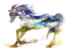 Draw Horses Canvas Art For Living Room Decor Print Oil Painting On Canvas Color Animal Horse - Horse Posters, Animal Posters, Watercolor Horse, Watercolor Paintings, Watercolor Landscape, Painting Art, Forest Painting, Knife Painting, Abstract Landscape