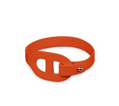 "Iona Hermes leather bracelet (size M)  Fire epsom calfskin  Inox plated hardware, 2.5"" diameter, 7"" circumference."