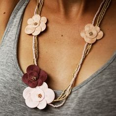 pink and gold flower necklace