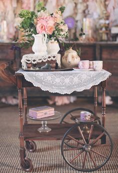 A cart is definitely on the vintage party wish list. Add this antique tea cart for your little tea party