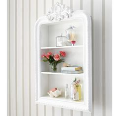 carved wooden shelf unit in white W Wooden Shelf Unit, Wooden Shelves, Shabby Chic Interiors, Shabby Chic Bedrooms, Living Room Paint, New Living Room, Interiores Shabby Chic, White Shelves, Affordable Furniture